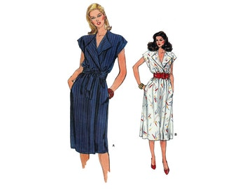 """Womens Sewing Pattern 80s Easy Wrap Dress Cap Sleeve Straight or Flared Skirt Beginner Size 8 10 Bust 31.5-32.5"""" (80-83 cm) Vogue 8704 S"""