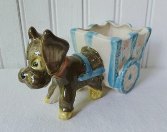 Dog Pulling Cart Figurine Planter. Vintage 1950s. Made in Japan. Cute Terrier Schnauzer Puppy. New Baby Gift. Nursery Decor.