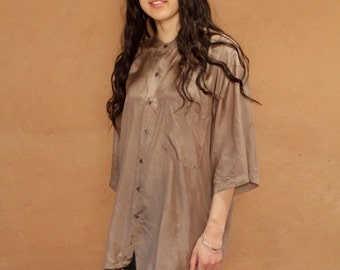 90s huge tan silk OVERSIZE long sleeve SLOUCHY front pocket shirt