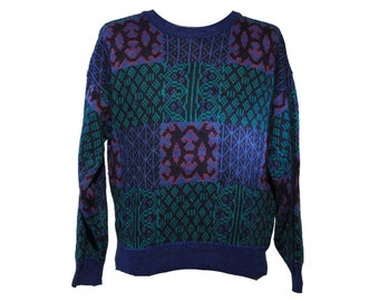 80's Abstract Sweater Cosby Acrylic Sweater Size XL
