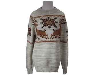 70's Vintage Reindeer Sweater Christmas Sweater Silton Size Medium
