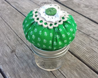 Green Shabby Pincushion Sewing Jar, Sewing Jar with Pincushion Top