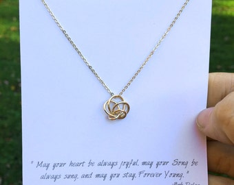 Birthday Gift Necklace / Best Wishes Necklace / Bob Dylan Quote Necklace / Love Knot Necklace