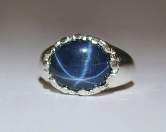 Large Natural Blue Star Sapphire In Sterling Silver Setting, 5.58ct. Size 7