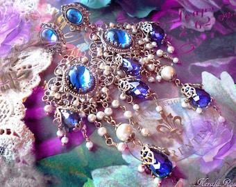 Ornate Sapphire Blue Crystal Chandelier Earrings, Renaissance Filigree Earrings, Cobalt Blue, Ruby Red, Black, Purple, Green, Pearl-Options!