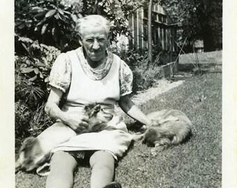 "Vintage Photo ""Granny's Companions"" Snapshot Photo Old Antique Photo Black & White Photograph Found Photo Paper Ephemera Vernacular - 140"
