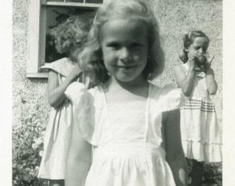 "Vintage Photo ""Close Up Cutie"" Kids Little Girl Children Snapshot Old Photo Black & White Photograph Found Paper Ephemera Vernacular - 147"
