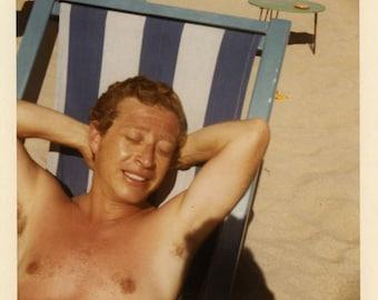 "Vintage Color Photo ""Sunshine Sammy"" Shirtless Man Tan Beach Chair Snapshot Old Antique Photograph Found Paper Ephemera Vernacular - 29"