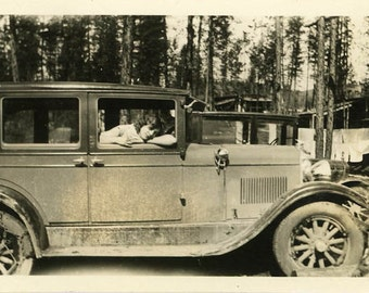 "Vintage Photo ""Darling Passenger"" Woman Girl Car Snapshot Old Antique Photo Black & White Photograph Found Paper Ephemera Vernacular - 166"
