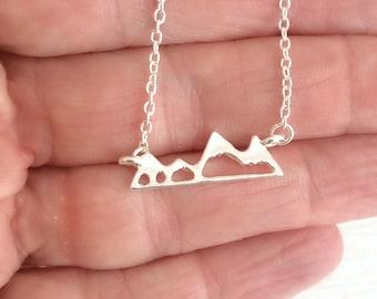 Sale!  Mountain Range Necklace, silver gold charm outdoors nature pendant minimal travel hiking climbing biking birthday gift gifts