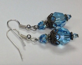 Swarovski Crystal Earrings 10mm Round Blue Aquamarine - Silver Victorian Dangle