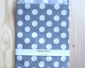 "20 Grey Polka Dot Paper Favor Bags - 5"" x 7"" - 20 pcs - Party Favors, Candy Bags, Wedding Favor Bags, Glassine Paper Bags"