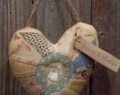 Sweet Primitive Handmade Heart Door Knob or Peg Hanger - Valentine Decoration