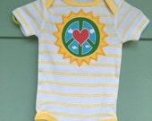 Peace Love & Sunshine ~ upcycled baby Onesie yellow stripes, 6-9 months, eco-friendly OOAK