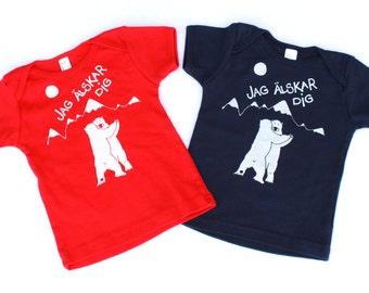 Polar Bears toddler shirt Screen Printed-Swedish I Love You Bears American Apparel, age 12-18 months
