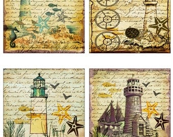 Lighthouse Instant Download Seahorse Turtle Starfish 4 Inch Squares 2 Sets of 4 Images Each JPEG (16-9)