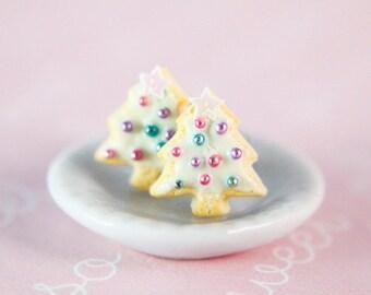 Christmas tree sugar cookie stud earrings - Food Jewelry (hypoallergenic surgical steel)