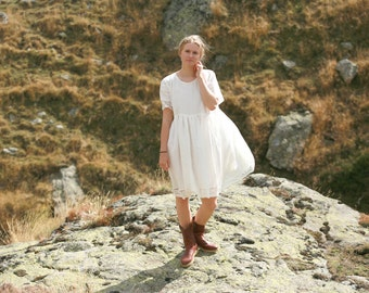 Linen dress with lace trims, smock dress, rustic, country and boho style
