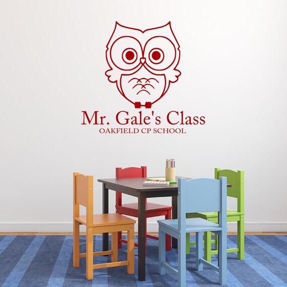 Male Classroom Decor : Teacher classroom owl vinyl wall decal school