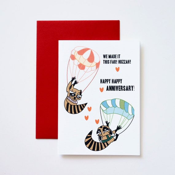 Sky Diving Raccoons Happy Anniversary Greeting Card