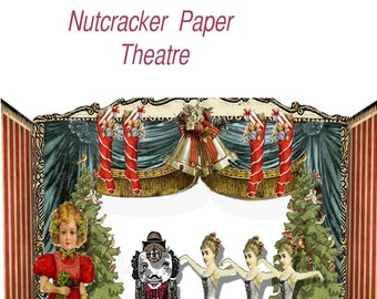 Printable Christmas  Nutcracker Theatre paper set. holiday craft DIY great paper toy or holiday display decor