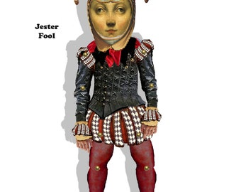 printable Jester doll paper puppet renaissance theatre puppet craft project collage sheet