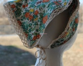 Graceful Hand Made Original with Vintage Fabric and Hand Crocheted Lace Edge Head Kerchief