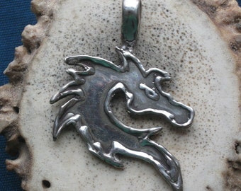 Celtic Dragon Silhouette Pendant in Sterling Silver.Fantasy Jewelry.Martial Arts Dragon. Dragon Jewelry.