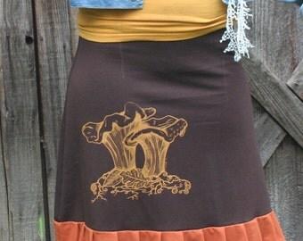 Hand Made Chanterelle Mushroom Screen Print Ruffle A Line Skirt Brown & Orange Organic Cotton Soy Spandex French Terry