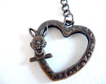 Keychains, key chains, keychain, key chain, Heart keychain, heart key chain, copper heart, copper plated, heart pendant, bunny key chain,