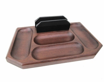Vintage Mens Valet, Wooden Dresser Tray, Swank Wood Caddy, Valet Butler, Brown Black