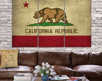 California State Flag Canvas - 3 panel set. Vintage Canvas Art, large Canvas Art perfect to fill your Large Wall