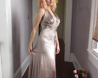 30's Vintage Silk Satin Gown Halter Dress Movie Star Sm/Med