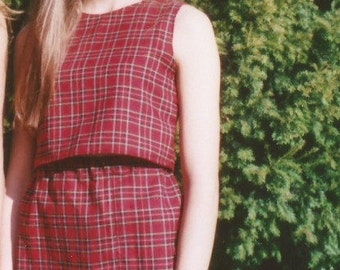 Tartan checked red two piece set, skirt and top, checked cotton, Kee Boutique
