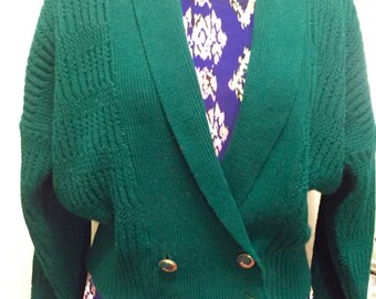 Vintage 1980's Sweater / Cute Green Cardigan / 80's Fashion / Statement Boyfriend Sweater / Sweater Jacket