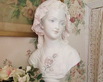shabby chic lady bust statue figurine vintage maiden girl bust