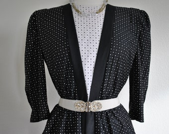 vintage take it back to the 80s peplum black and white dress size 6 or 8