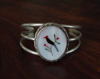 "Cardinal MOP Bracelet ZUNI Mosaic Inlay Sterling Cuff Native American Vintage ""Cardinal"" Motif"