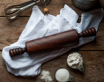 Short Claro Walnut Rolling Pin, Wood Rolling Pin, Hand Turned Rolling Pin, Baker's Rolling Pin