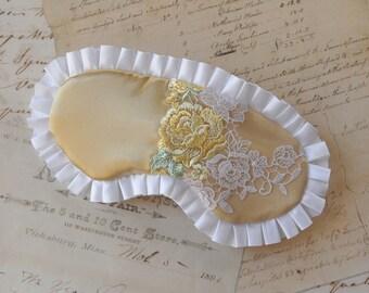Golden Rose Luxury Sleep Mask // Lace & Satin Eye Mask