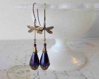 Art Deco Dragonfly Earrings // Brass, Cobalt AB Glass Teardrops