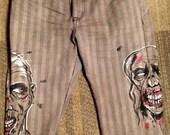 Original Art - Zombie Painted MARC ECKO Cut & Sew Deadly Threads Jeans sz 36