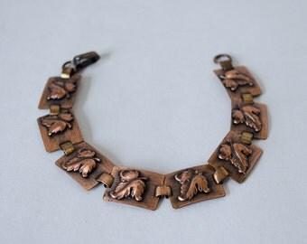 50% OFF SALE / 1950s vintage bracelet / copper leaf bracelet