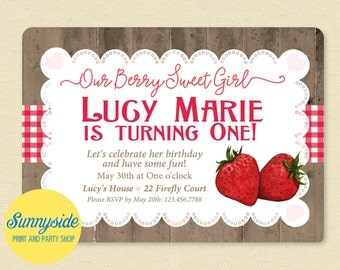 Berry birthday invitation // berry sweet birthday party invite // strawberries gingham and woodgrain // printable or printed