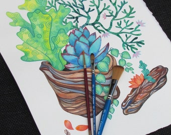 Succulent Painting/ Driftwood/ Watercolor ORIGINAL/ Botanical Illustration/ Birthday Gift/ Gift for Friend/ Gift for Mom/ Girlfriend Gift