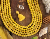 Yellow Olive Wood Beads, 7mm, 63 Hand Cut Round Beads, Natural Dyed Beads for Bracelets, Making Jewelry or Yoga Mala, Bright Spring