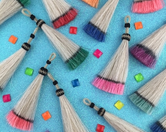 "Dip Dye Horse Hair Tassels, Handmade, Bright Ombre Colors, Craft, Jewelry Making Supply Western, Bohemian, Choose your Color, 4.25"" 1 Tassel"