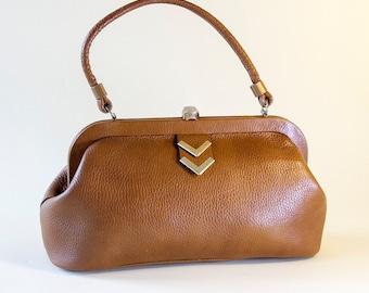 LETISSE Made in America Leather Handbag Top Handle Vintage 1960's Roan Brown Gold Chevron