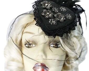 Dark Romance Veiled Gothic Victorian Heart Pillbox Fascinator Steampunk Veil Hat