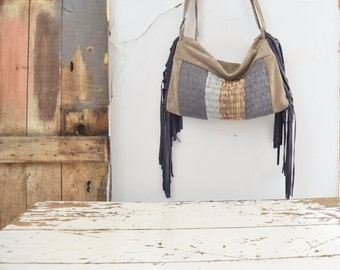 Woven Suede  Slouchy Hobo in Sand and Denim Blue Mix  - Tassels - OOAK. Ready to Ship